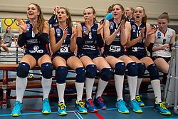 21-04-2019 NED: VC Sneek - Sliedrecht Sport, Sneek<br /> Final Round 2 of 5 Eredivisie volleyball - Sliedrecht Sport win 3-0 / Fleur Savelkoel #6 of Sliedrecht Sport , Esther van Berkel #7 of Sliedrecht Sport, Sarah van Aalen #9 of Sliedrecht Sport, Carlijn Ghijssen-Jans #10 of Sliedrecht Sport, Denise de Kant #12 of Sliedrecht Sport, Florien Reesink #5 of Sliedrecht Sport