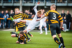 Falkirk's Jay Fulton tackled by Alloa Athletic's Jason Marr.<br /> Alloa Athletic 0 v 0 Falkirk, Scottish Championship 12/10/2013. played at Recreation Park, Alloa.<br /> &copy;Michael Schofield.
