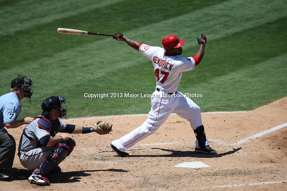 ANAHEIM, CA - JULY 24:  Howie Kendrick #47 of the Los Angeles Angels of Anaheim bats during the game against the Minnesota Twins on Wednesday, July 24, 2013 at Angel Stadium in Anaheim, California. The Angels won the game in a 1-0 shutout. (Photo by Paul Spinelli/MLB Photos via Getty Images) *** Local Caption *** Howie Kendrick