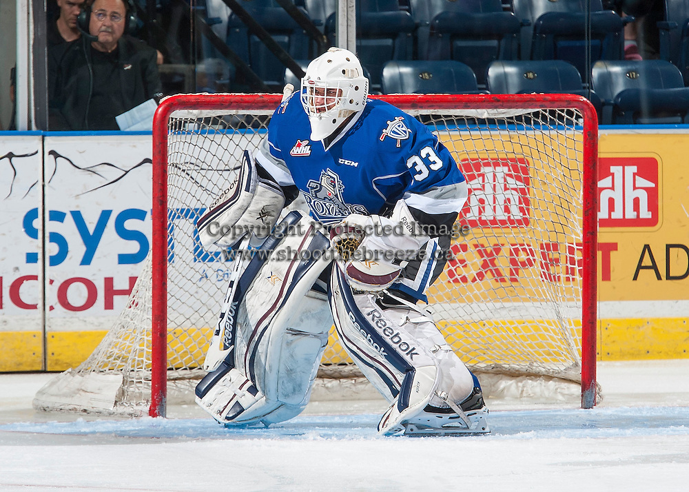 KELOWNA, CANADA - SEPTEMBER 3: Dylan Myskiw #33 of Victoria Royals defends the net against the Kelowna Rockets on September 3, 2016 at Prospera Place in Kelowna, British Columbia, Canada.  (Photo by Marissa Baecker/Shoot the Breeze)  *** Local Caption *** Dylan Myskiw;