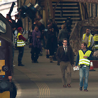 Filming of The Railway Man on Perth Railway Station....01.05.12<br /> Colin Firth walks down the platform whilst filming his new film with Nicole Kidman<br /> Picture by Graeme Hart.<br /> Copyright Perthshire Picture Agency<br /> Tel: 01738 623350  Mobile: 07990 594431