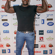 "London,England,UK. 14th May 2017. Adebayo Akinfenwa and nicknamed ""The Beast"", is an English professional footballer attends the BBL Play-Off Finals also fundraising for Hoops Aid 2017 but also a major fundraising opportunity for the Sports Traider Charity at London's O2 Arena, UK. by See Li"