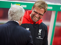 STOKE-ON-TRENT, ENGLAND - Tuesday, January 5, 2016: Liverpool's manager Jürgen Klopp and Stoke City's manager Mark Hughes before the Football League Cup Semi-Final 1st Leg match at the Britannia Stadium. (Pic by David Rawcliffe/Propaganda)