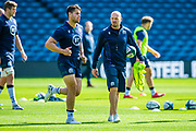 Scotland head coach Gregor Townsend (with ball) during the Scotland Rugby training run ahead of their match against France at BT Murrayfield Stadium, Edinburgh, Scotland on 23 August 2019.