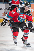 KELOWNA, CANADA - NOVEMBER 30: Kris Schmidli #16 of the Kelowna Rockets warms up against the Kamloops Blazers on November 30, 2013 at Prospera Place in Kelowna, British Columbia, Canada.   (Photo by Marissa Baecker/Shoot the Breeze)  ***  Local Caption  ***