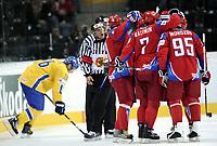 Jubel bei den Russen, Entaeuschung bei den Schweden nach dem Tor. © Melanie Duchene/EQ Images