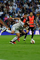 Real Madrid´s Chicharito and Almeria's  during 2014-15 La Liga match between Real Madrid and Almeria at Santiago Bernabeu stadium in Madrid, Spain. April 29, 2015. (ALTERPHOTOS/Luis Fernandez)