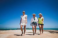Karen Jones White, Jacki Arevalo and Elizabeth White on Harvey Cay, Exumas, Bahamas.