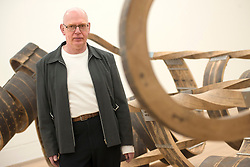 © Licensed to London News Pictures.03/02/2014. London, UK. Richard Deacon poses to photographers during a photo call of his exhibition in Tate Britain. The museum presents a major exhibition of the work of Turner Prize winner Richard Deacon, a leading British sculptor. Photo credit : Peter Kollanyi/LNP
