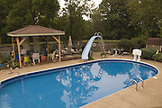 A deck and patio with swimming pool, one of the many amenities found at the 8-acre musicians' compound, Thursday, July 26, 2012, at Liquid Sound Studios in Greenville, Ind. (Photo by Brian Bohannon)