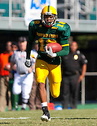 Norfolk State redshirt senior Dante Barnes returns this interception 68 yards for a first quarter touchdown during their 17 - 13 loss to Florida A&M at Dick Price Stadium on the campus of Norfolk State University in Norfolk, Virginia.  (Photo by Mark W. Sutton)
