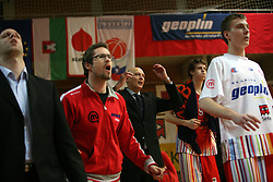 Geoplin Slovan team when loosing at basketball game Geoplin Slovan - Helios Domzale in in the second match of quarter-final of Spar Cup, on February 7, 2008 in Ljubljana, Slovenia.   (Photo by Vid Ponikvar / Sportal Images).