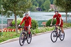 ROTTACH-EGERN, GERMANY - Thursday, July 27, 2017: Liverpool's Andy Robertson and Danny Ings cycle back from training from the Seehotel Uberfahrt on the banks of Lake Tegernsee on day two of their preseason training camp in Germany. (Pic by David Rawcliffe/Propaganda)