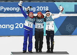 February 11, 2018 - Pyeongchang, GANGWON, SOUTH KOREA - Feb 10, 2018-Pyeongchang, South Korea-Laura DAHLMEIER of Germany, Marte OLSBU of Norway, Veronika VITKOVA of Czech Republic win ceremony after match during an Olympic Biathlon Women Sprint 7.5Km at Biathlon Center in Pyeongchang, South Korea. (Credit Image: © Gmc via ZUMA Wire)