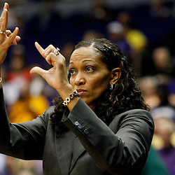 November 16, 2011; Baton Rouge, LA; Georgetown Hoyas head coach Terry Williams-Flournoy against the LSU Tigers during the second half of a game at the Pete Maravich Assembly Center. LSU defeated Georgetown 51-40. Mandatory Credit: Derick E. Hingle-US PRESSWIRE
