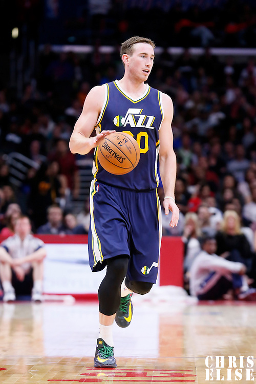 17 October 2014: Utah Jazz guard Gordon Hayward (20) brings the ball up court during the Los Angeles Clippers 101-97 victory over the Utah Jazz, in a preseason game, at the Staples Center, Los Angeles, California, USA.