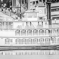 Peoria Illinois Spirit of Peoria Riverboat panoramic black and white photo. Panoramic photo ratio is 1:3.