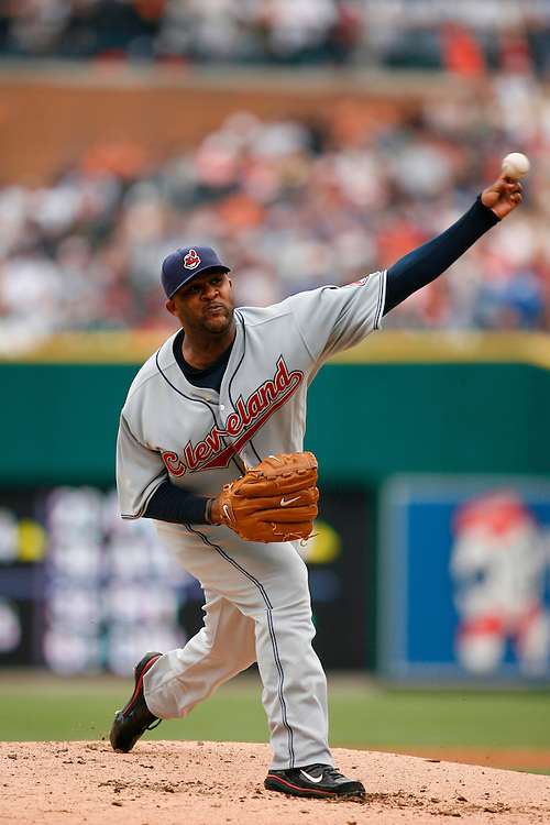 DETROIT - MAY 26: C.C. Sabathia #52 of the Cleveland Indians pitches against the Detroit Tigers on May 26, 2007 at Comerica Park in Detroit, Michigan. The Indians defeated the Tigers 6 to 3.