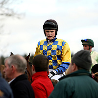 Jockeys in the parade ring at the Dromoland Point to Point on Sunday.<br />