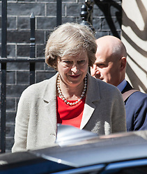 © Licensed to London News Pictures. 18/07/2016. London, UK. Prime Minister Theresa May leaves No. 10 Downing Street ahead of the vote on renewing Britain's Trident nuclear deterrent. Photo credit: Rob Pinney/LNP