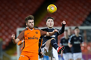 Two goal Cedwyn Scott of Dundee and Luc Bollan of Dundee United battle for the ball - Dundee United v Dundee, SPFL Under 20 Development League at Tannadice Park, Dundee<br /> <br />  - © David Young - www.davidyoungphoto.co.uk - email: davidyoungphoto@gmail.com