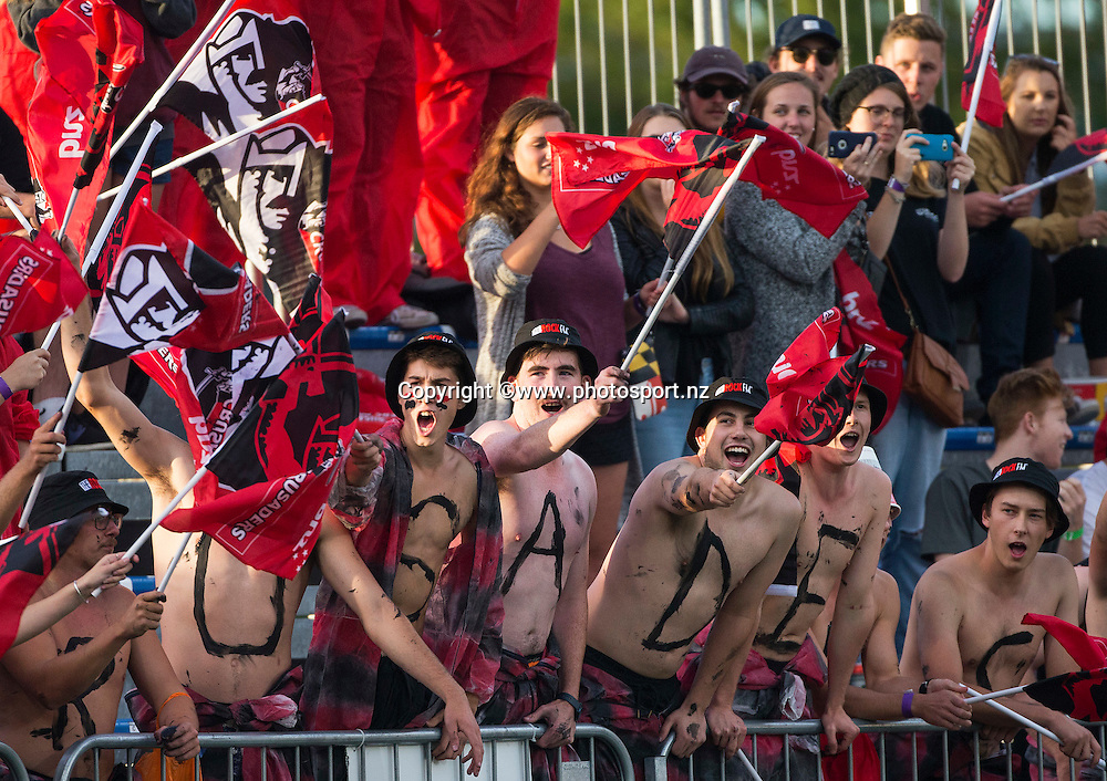 Crusader's fans before the Super Rugby game between Crusaders v Blues held at AMI Stadium. 04 March 2016. Photo: Joseph Johnson / www.photosport.nz