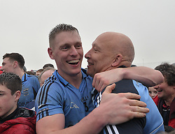 Charlie Lambert congratulates Westport&rsquo;s Kevin Keane after their win over Kenmare.<br />