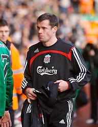 LIVERPOOL, ENGLAND - Saturday, January 26, 2008: Liverpool's substitute Jamie Carragher before the FA Cup 4th Round match against Havant and Waterlooville at Anfield. (Photo by David Rawcliffe/Propaganda)