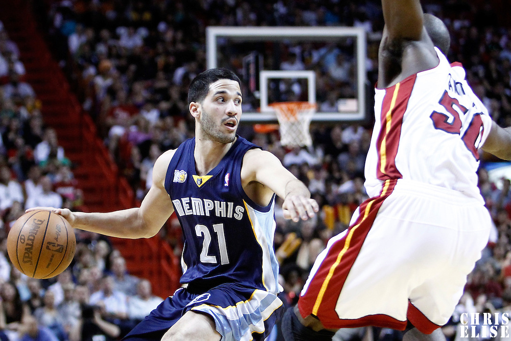 12 March 2011: Memphis Grizzlies guard Greivis Vasquez (21) dribbles during the Miami Heat 118-85 victory over the Memphis Grizzlies at the AmericanAirlines Arena, Miami, Florida, USA. **