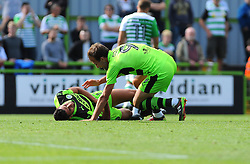 Christian Doidge of Forest Green Rovers celebrates with an injured Omar Bugiel of Forest Green Rovers - Mandatory by-line: Nizaam Jones/JMP - 19/08/2017 - FOOTBALL - New Lawn Stadium - Nailsworth, England - Forest Green Rovers v Yeovil Town - Sky Bet League Two