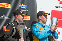Robert Barrable (IRL) / Aaron Mason  #75 Insurance Racing  Ginetta G55 GT4  Ford Cyclone 3.7L V6 on the podium in third place in GT4 class of race two for the British GT Championship at Oulton Park, Little Budworth, Cheshire, United Kingdom. May 30 2016. World Copyright Peter Taylor/PSP.