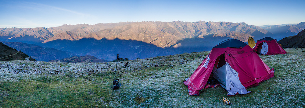 Our final camp was at 4023 meters elevation in the Cordillera Blanca (below Huishkash/Huishcash) with a view of the Cordillera Negra, Andes Mountains, Peru, South America. Day 10 of 10 days trekking around Alpamayo, in Huascaran National Park (UNESCO World Heritage Site). This panorama was stitched from 4 overlapping photos.