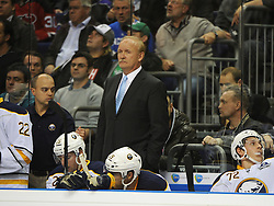 08.10.2011, O2 World, Berlin, Linz, GER, NHL, Buffalo Sabres vs LA Kings, im Bild Head Coach Lindy Ruff (Buffalo Sabres,#) on the bench, during the Compuware NHL Premiere, O2 World Berlin, Berlin, Germany, 2011-10-08, EXPA Pictures © 2011, PhotoCredit: EXPA/ Reinhard Eisenbauer