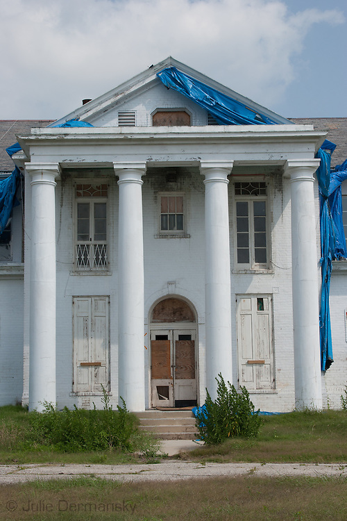 School destroyed by Hurricane Katrina a year and a half after the storm in New Orleans.