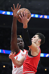 November 3, 2018 - Chicago, IL, USA - Chicago Bulls guard Zach LaVine (8) aims for the basket as Houston Rockets center Clint Capela (15) defends in the first quarter at the United Center Saturday, Nov. 3, 2018, in Chicago. The Rockets beat the Bulls 96-88. (Credit Image: © John J. Kim/Chicago Tribune/TNS via ZUMA Wire)