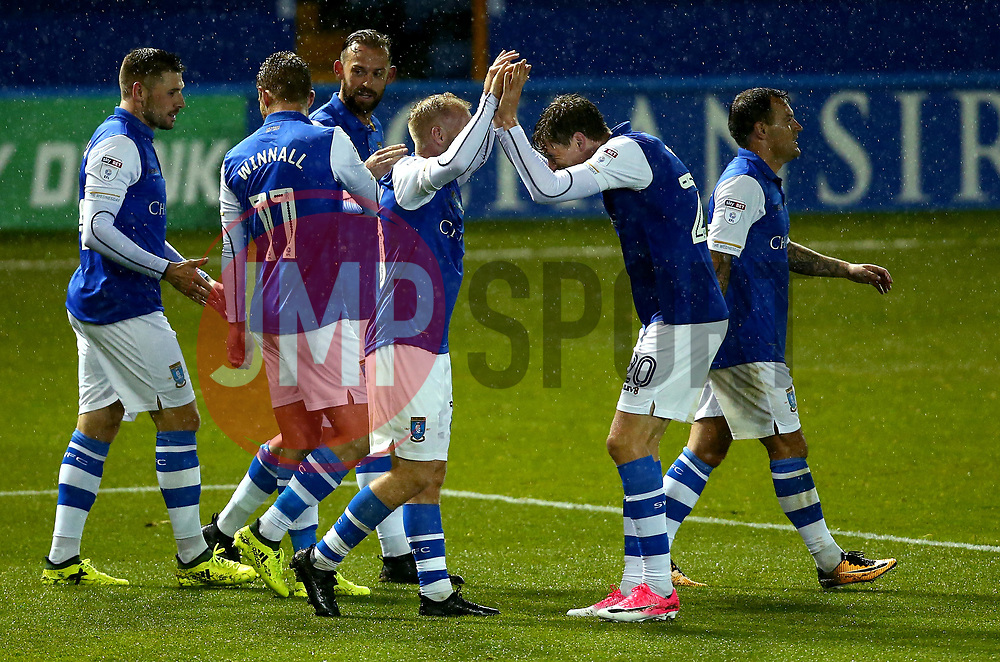 Barry Bannan of Sheffield Wednesday celebrates with teammates after scoring a goal - Mandatory by-line: Robbie Stephenson/JMP - 08/08/2017 - FOOTBALL - Hillsborough - Sheffield, England - Sheffield Wednesday v Chesterfield - Carabao Cup