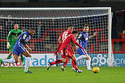 Gwion Edwards of Crawley Town lines up a shot during the Sky Bet League 2 match between Crawley Town and Stevenage at the Checkatrade.com Stadium, Crawley, England on 26 December 2015. Photo by Phil Duncan.