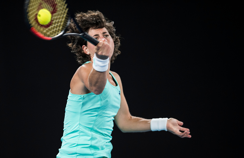 Carla Su&aacute;rez Navarro of Spain on day nine of the 2018 Australian Open in Melbourne Australia on Tuesday January 23, 2018.<br /> (Ben Solomon/Tennis Australia)
