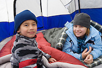 Two children in tent
