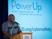 Houston ISD Police Lt. James Bridges comments during a news conference on the district's Cyber Safety initiative at the High School for Law Enforcement and Criminal Justice, August 13, 2014.