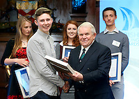 REPRO FREE***PRESS RELEASE NO REPRODUCTION FEE***<br /> Irish Sailing Awards, Royal College of Surgeons, Stephen's Green, Dublin 4/2/2016<br /> National Yacht Club sailor Liam Shanahan was named the 2015 Irish Sailor of the Year today at the Irish Sailing Awards in Dublin - Shanahan had a remarkable year, including victory in the Dun Laoghaire to Dingle race in June on his boat Ruth with two miles to spare.<br /> Kilkenny's Doug Elmes and Malahide's Colin O'Sullivan jointly took home the Irish Sailing Association (ISA) Youth Sailor of the Year award. The Howth Yacht Club sailors were hotly tipped following their recent Bronze medal success at the 2015 Youth World Championships in Malaysia, where they took Ireland's first doublehanded youth worlds medal in 19 years.<br /> The Mitsubishi Motors Sailing Club of the Year award was presented to the Royal Irish Yacht Club in honour of their success at local, national and international level.<br /> Mullingar Sailing Club took home the ISA Training Centre of the Year award, having been nominated as winners of the western-region Training Centre of the Year.<br /> Pictured is Colin O'Sullivan, Youth Sailor of the Year nominee, Howth Yacht Club, and David Lovegrove, President ISA<br /> Mandatory Credit ©INPHO/Cathal Noonan