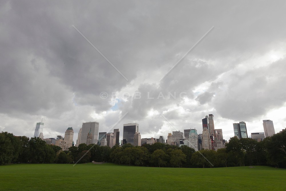 view of New York City from Central Park on a  cloudy day