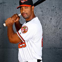 February 26, 2011; Sarasota, FL, USA; Baltimore Orioles first baseman Derrek Lee (25) poses during photo day at Ed Smith Stadium.  Mandatory Credit: Derick E. Hingle