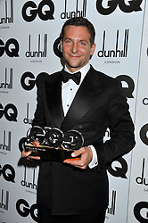 Winner of the International Man of the Year Award BRADLEY COOPER at the GQ Men of the Year 2011 Awards dinner held at The Royal Opera House, Covent Garden, London on 6th September 2011.