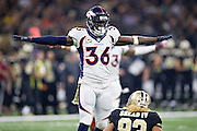 NEW ORLEANS, LA - NOVEMBER 13:  Kayvon Webster #36 of the Denver Broncos signals incomplete after breaking up a pass thrown to Willie Snead IV #83 of the New Orleans Saints at Mercedes-Benz Superdome on November 13, 2016 in New Orleans, Louisiana.  The Broncos defeated the Saints 25-23.  (Photo by Wesley Hitt/Getty Images) *** Local Caption *** Kayvon Webster; Willie Snead IV