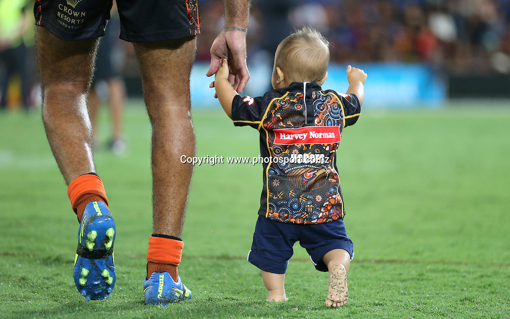 Rugby League - All Stars v Indigenous , Gold Coast 13 February 2015<br /> Indigenous All Stars' Justin Hodges with his son Carter<br /> Photograph :  Jason O'Brien