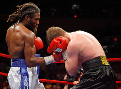 June 5, 2007; New York, NY, USA;  Yuri Foreman (black trunks) and Anthony Thompson (white/blue trunks) trade punches during their 10 round bout at Madison Square Garden in New York City.
