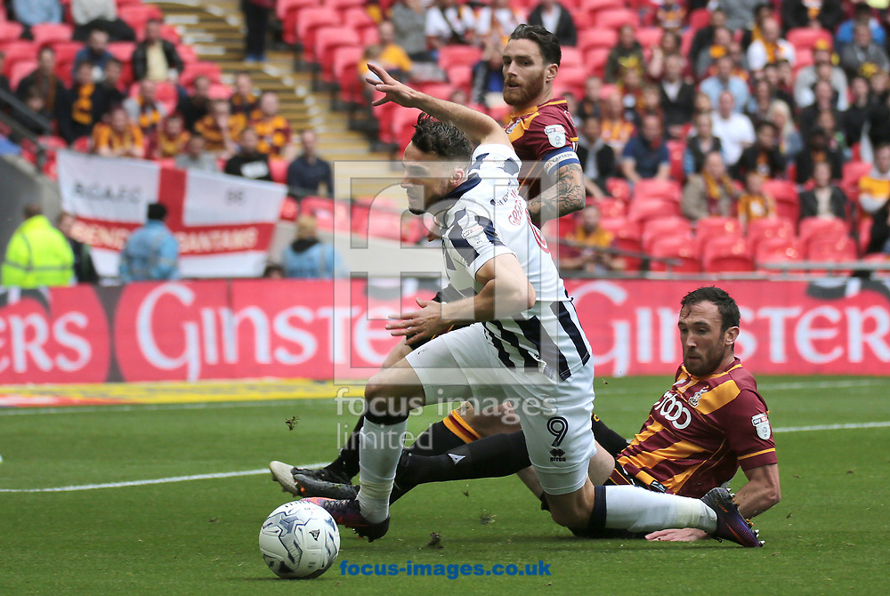 Millwall forward Lee Gregory battles with Rory McArdle during the Sky Bet League 1 play-off final at Wembley Stadium, London<br /> Picture by Glenn Sparkes/Focus Images Ltd 07939664067<br /> 20/05/2017