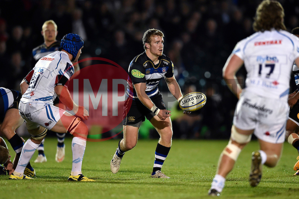Jonathan Evans of Bath Rugby passes the ball - Mandatory byline: Patrick Khachfe/JMP - 07966 386802 - 10/10/2015 - RUGBY UNION - The Recreation Ground - Bath, England - Bath Rugby v Exeter Chiefs - West Country Challenge Cup.