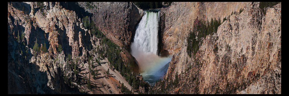 A tight panoramic image of Lower Falls in Yellowstone National Park.